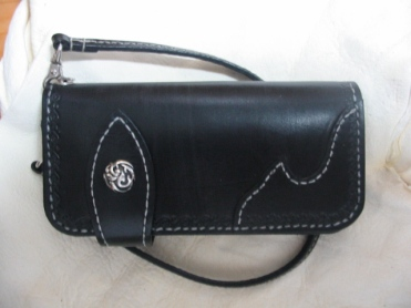 Biker Wallet with Tribal concho and border tooling.