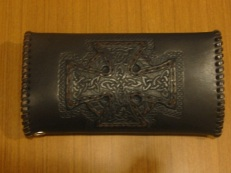 Celtic Long Wallet - Back - Tooled Cross.