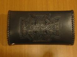 Celtic Long Wallet - Back - Tooled Cross.