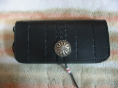 Long Wallet with Silver Concho and Southwest Tooling
