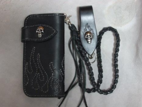 Skull and Flames Biker Wallet